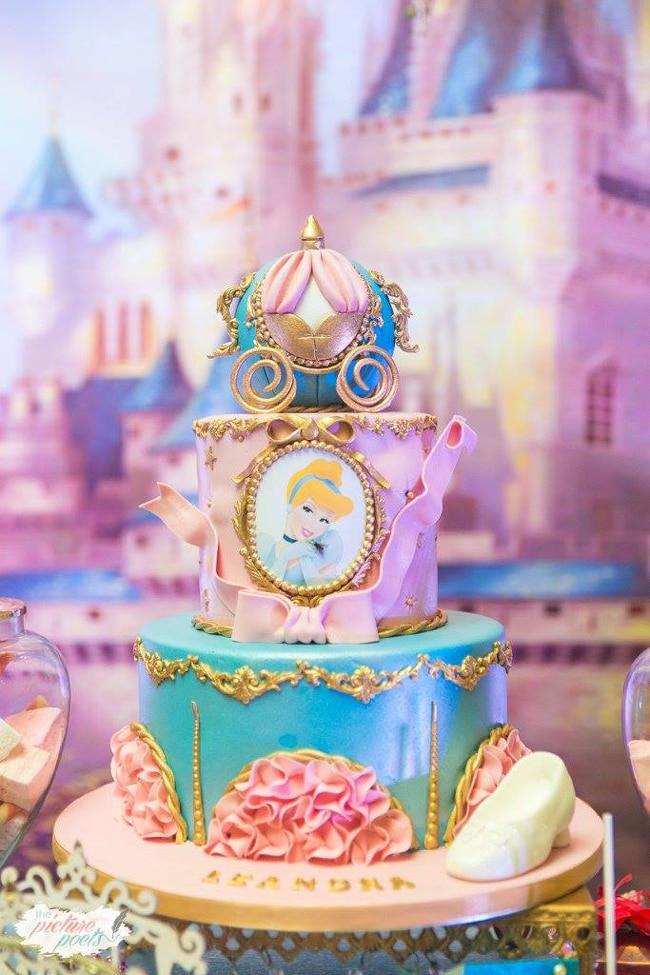 Magical Cinderella Themed Second Birthday Party Cake
