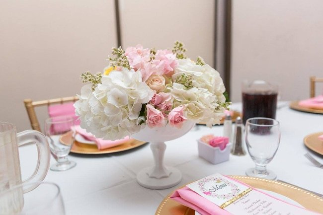Garden Baby Shower Flower Centerpiece