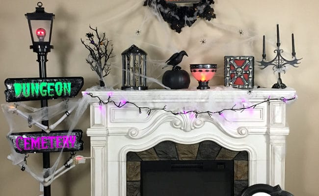 Spooktacular Halloween Fireplace Mantel Design