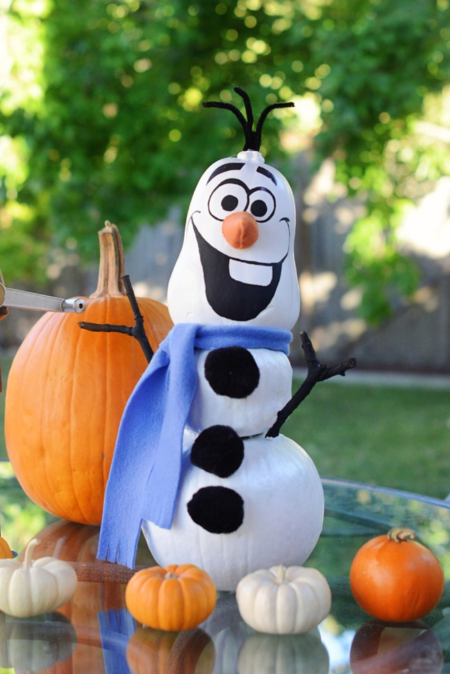 No Carve Frozen Olaf Pumpkin for Halloween