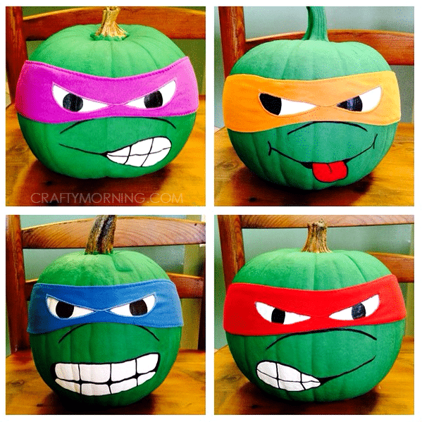 No Carve Ninja Turtle Pumpkins for Kids