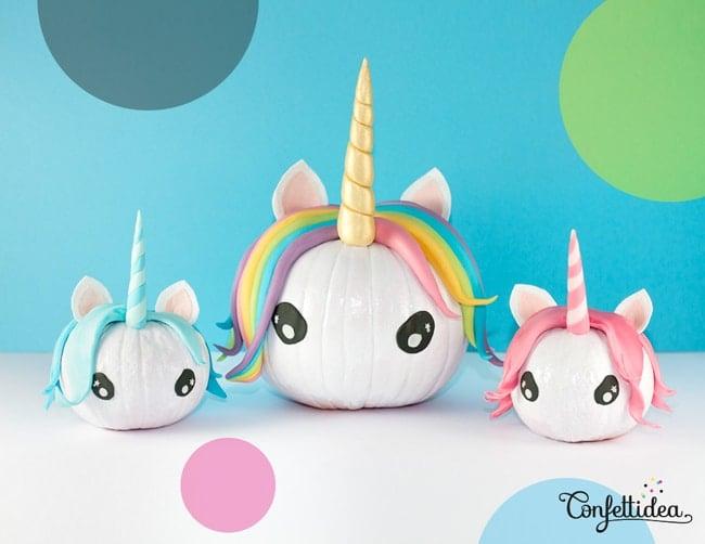Cute Unicorn Painted Pumpkins