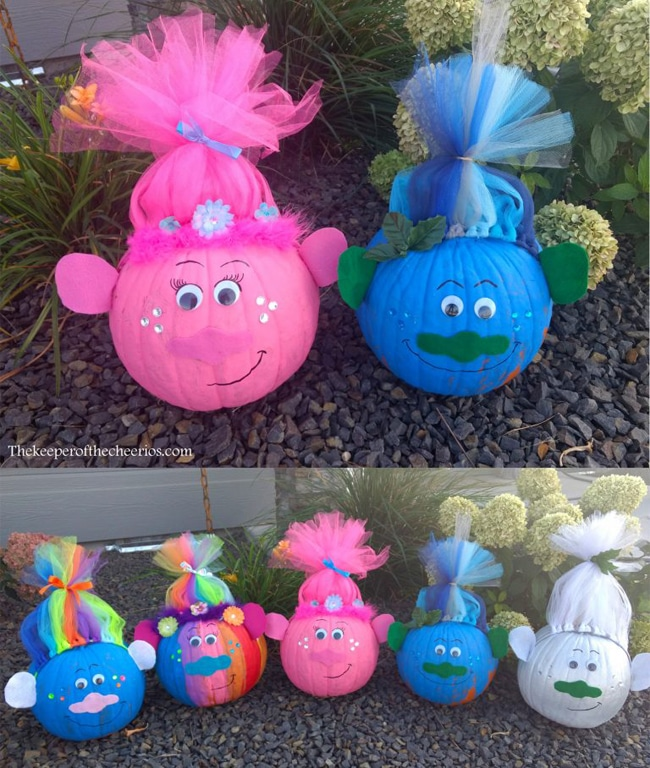 Trolls Painted Pumpkins For Kids