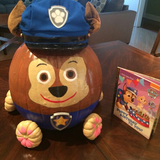 Paw Patrol Chase Painted Pumpkin For Kids