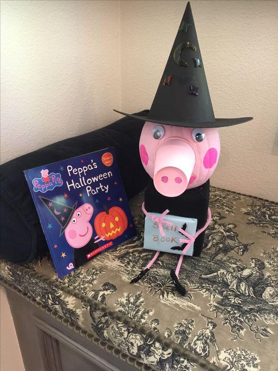 Peppa Pig Witch Painted Pumpkin Idea
