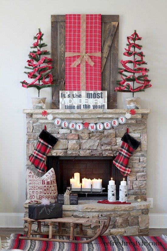 Plaid Christmas Fireplace Mantel