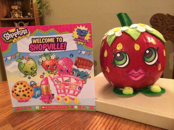 Strawberry Kiss Shopkins Painted Pumpkin