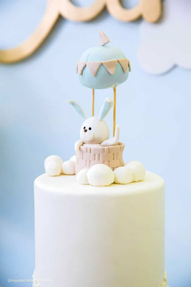 Boy's Hot Air Balloon First Birthday Party Cake Topper