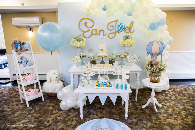 Boy's Hot Air Balloon First Birthday Party Set Up