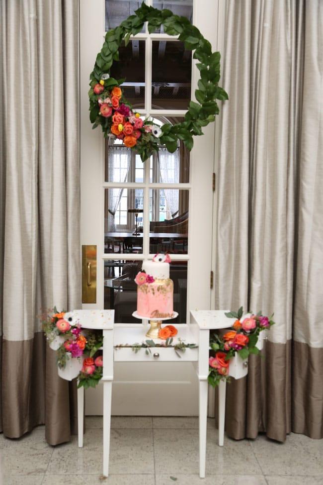 Chic Floral Themed Bridal Shower Brunch Cake
