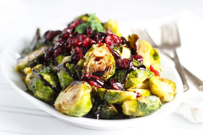 Roasted Brussel Sprouts with Cranberry and Balsamic Reduction