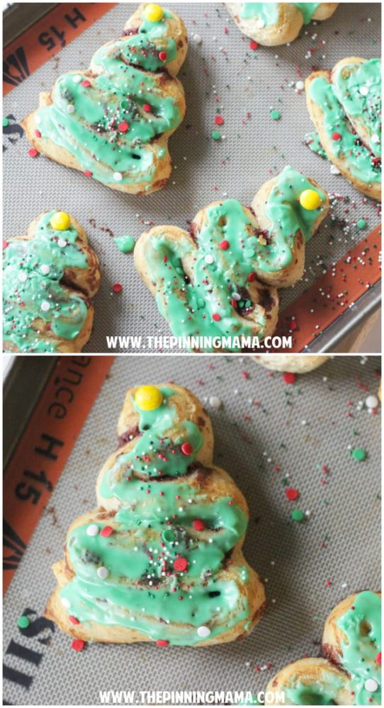 Easy Cinnamon Roll Christmas Trees for Kids Santa Breakfast