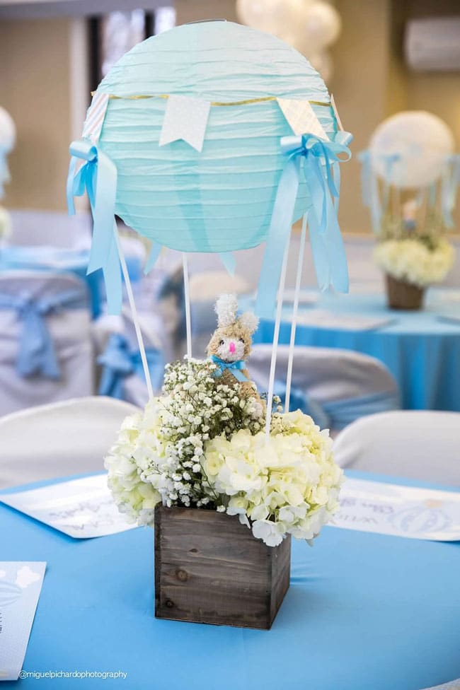 Boy's Hot Air Balloon First Birthday Party Table Centerpiece