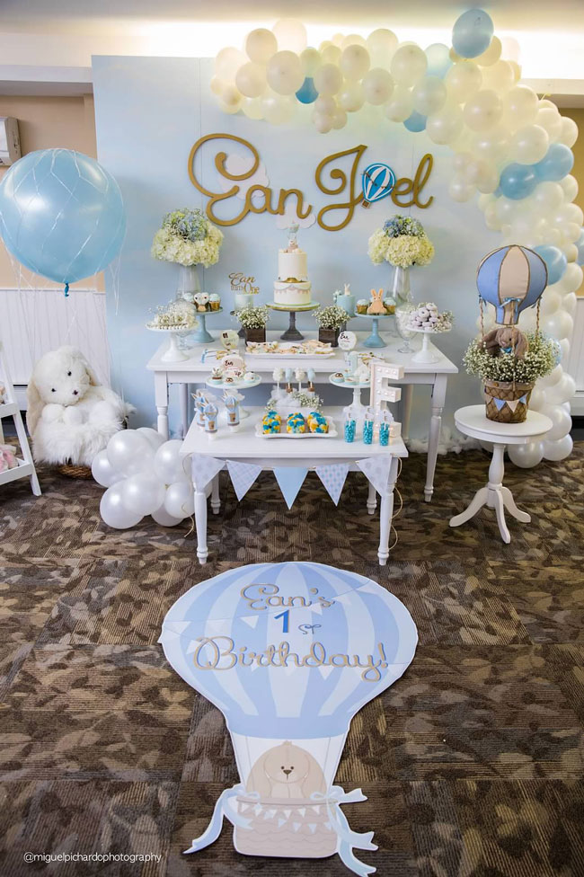 Boy's Hot Air Balloon First Birthday Party