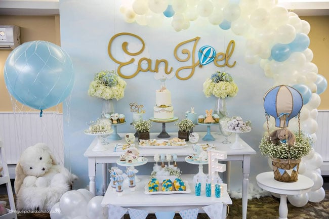 Boy's Hot Air Balloon First Birthday Party Sweets Table