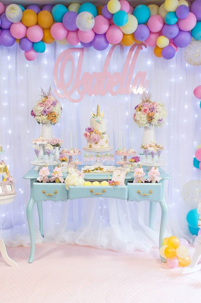 Magical Pastel Unicorn Party Dessert Table