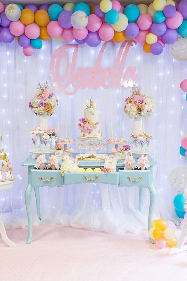 Magical Pastel Unicorn Party Dessert Table