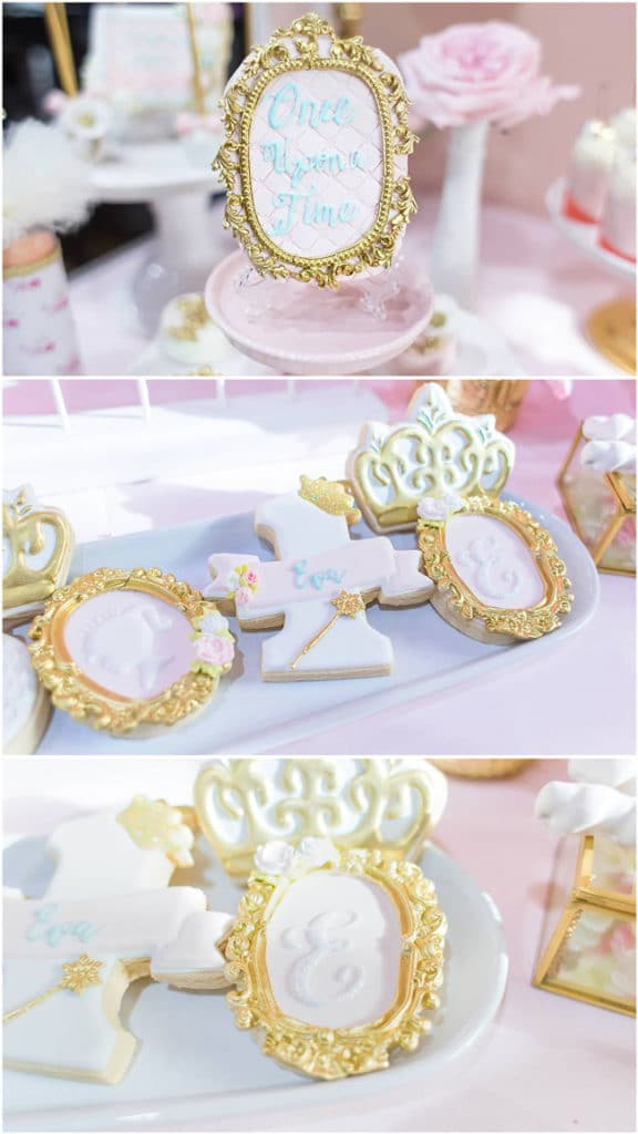 Pink and Gold Princess Party Cookies