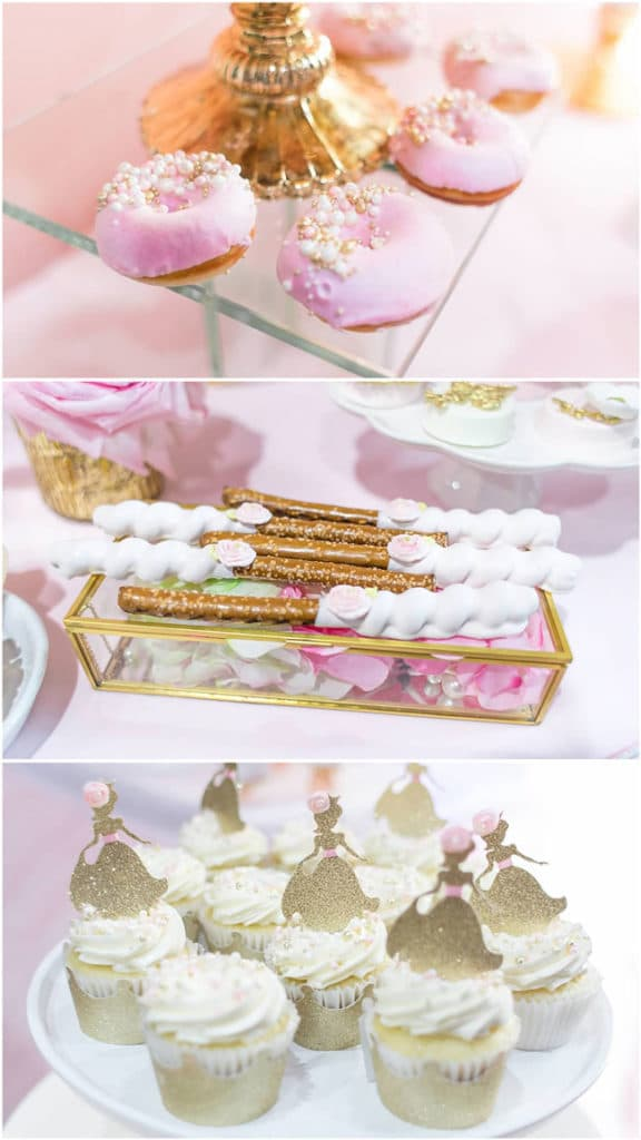 Pink and Gold Princess Party Desserts