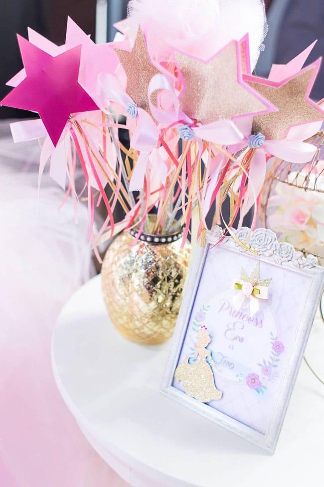 Pink and Gold Princess Birthday Party Princess Wands