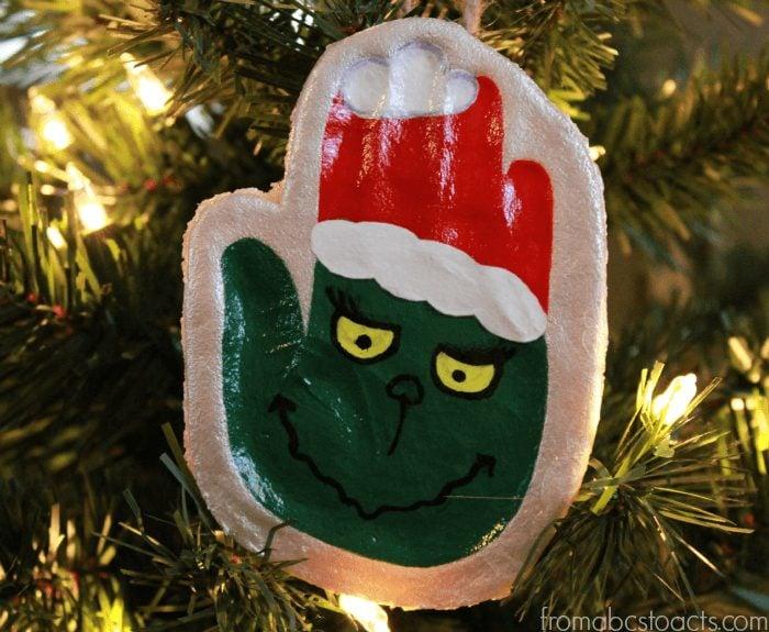 Grinch Salt Dough Handprint Ornament