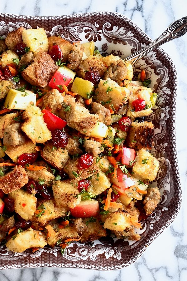 Sausage, Apple and Cranberry Stuffing Recipe for Thanksgiving