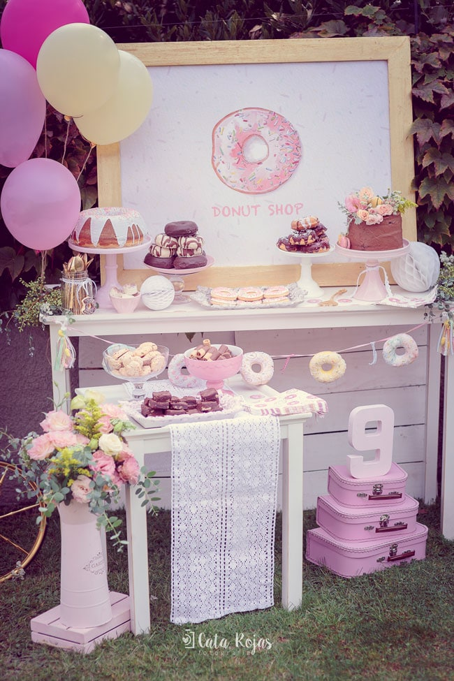 Vintage Donut Birthday Party Dessert Table