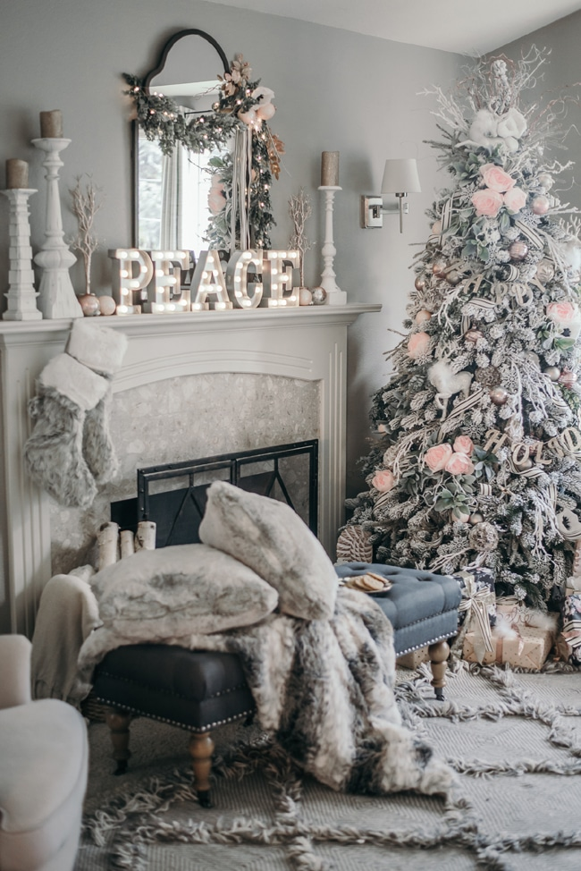 Pink and White Christmas Fireplace Mantel Decor