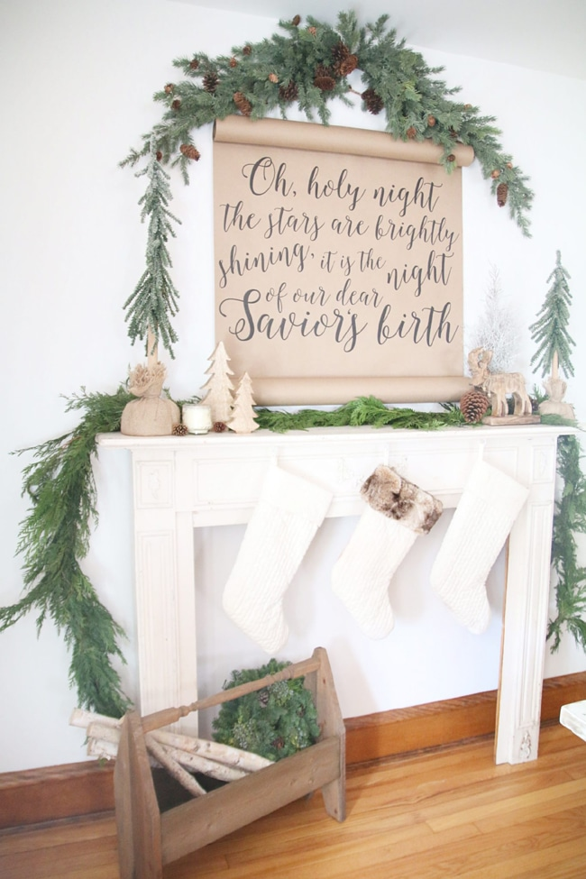Rustic Scroll Christmas Mantel