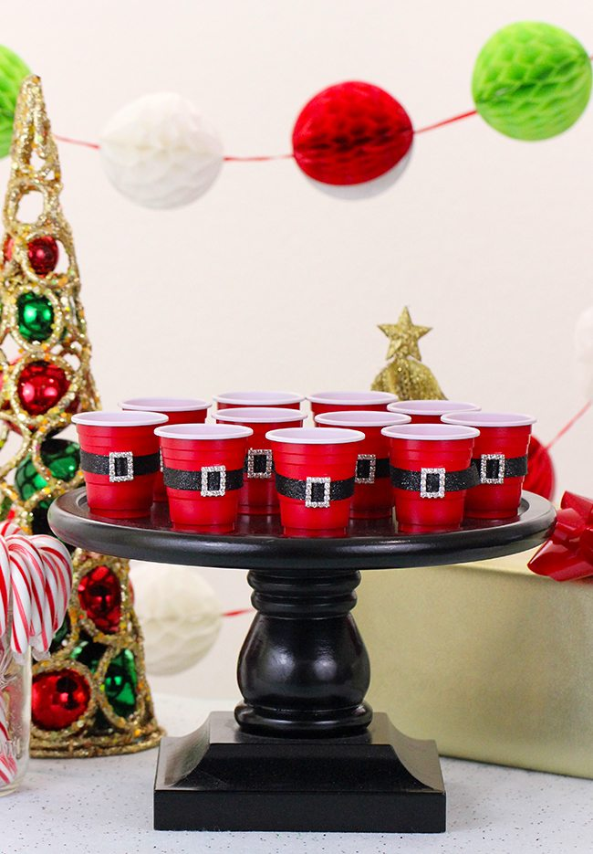 DIY Mini Santa Belt Cups for Ugly Sweater Party - 16 Totally Unforgettable Ugly Sweater Party Ideas
