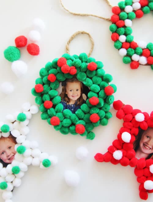 DIY Pom Pom Photo Christmas Ornament - Kids Christmas Ornaments