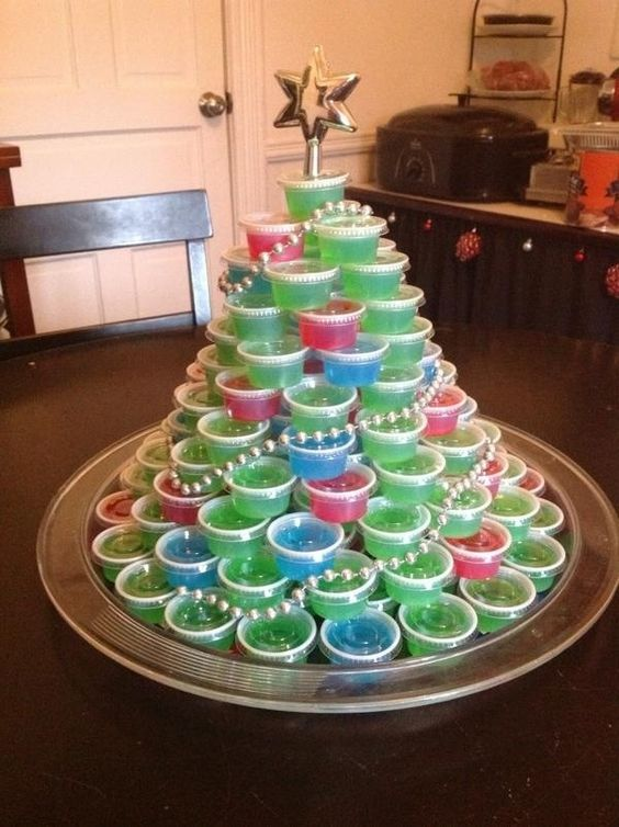 Jello Shot Christmas Tree for Ugly Sweater Party - 16 Totally Unforgettable Ugly Sweater Party Ideas
