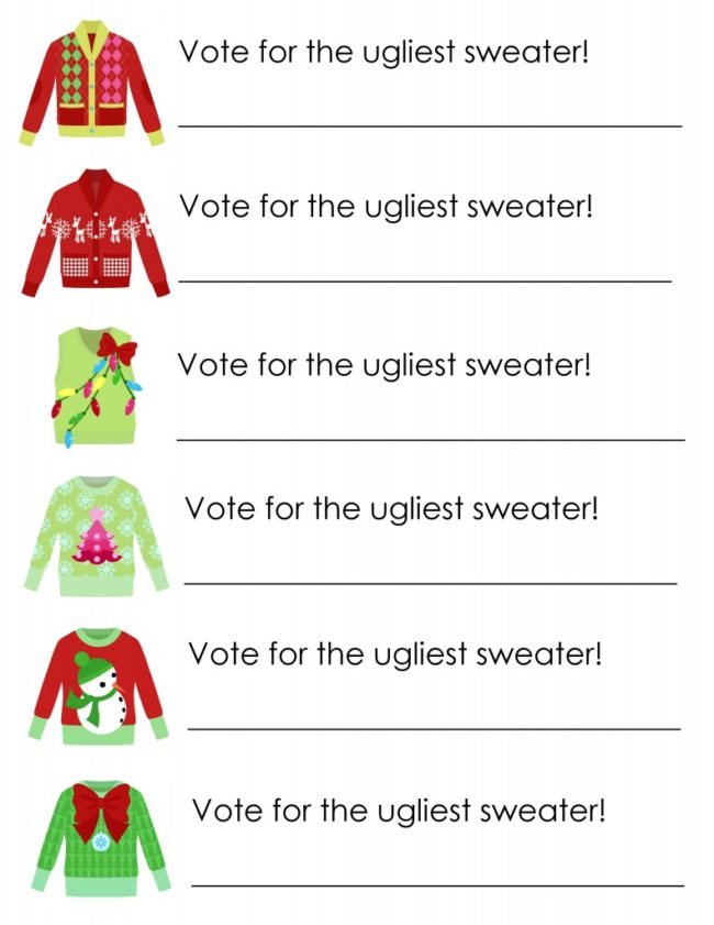 Ugly Sweater Party Free Voting Ballot Printables - 16 Totally Unforgettable Ugly Sweater Party Ideas
