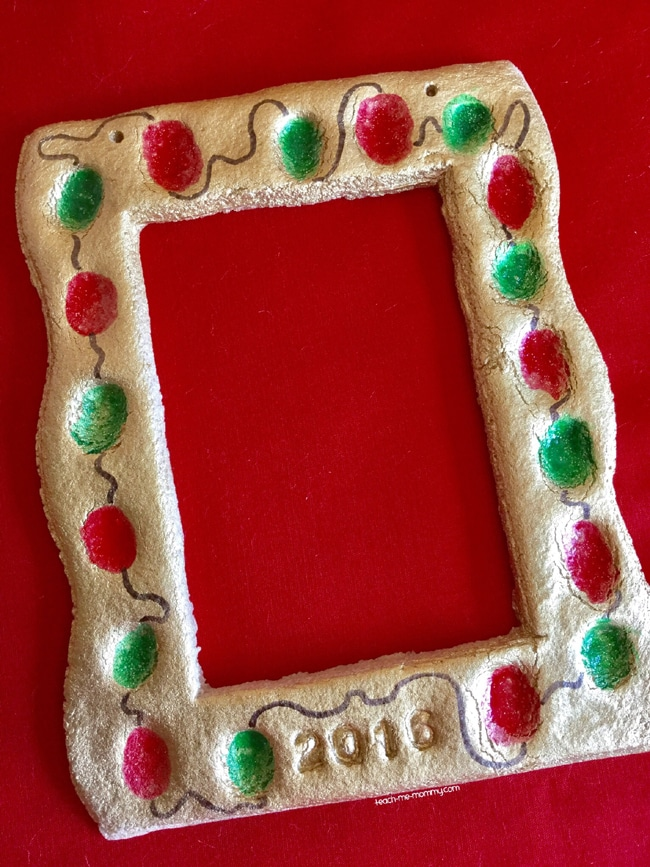 Salt Dough Fingerprint Lights Photo Frame Ornament