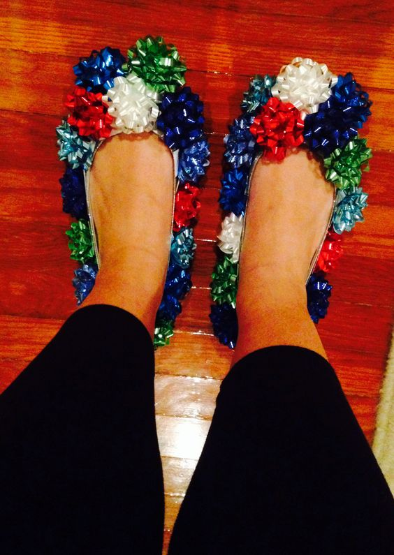 Ugly Christmas Bow Shoes for Ugly Sweater Party - 16 Totally Unforgettable Ugly Sweater Party Ideas