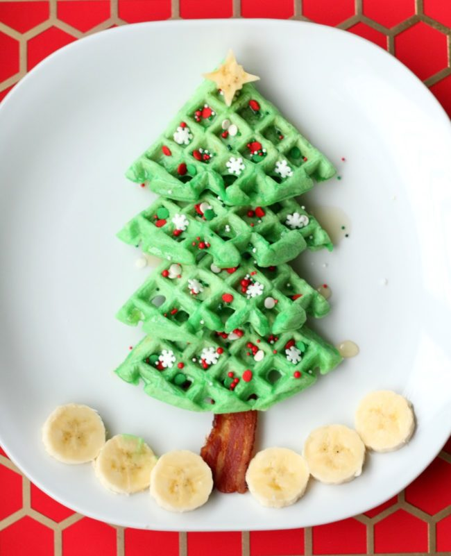 Christmas Tree Waffle for Kids Santa Breakfast