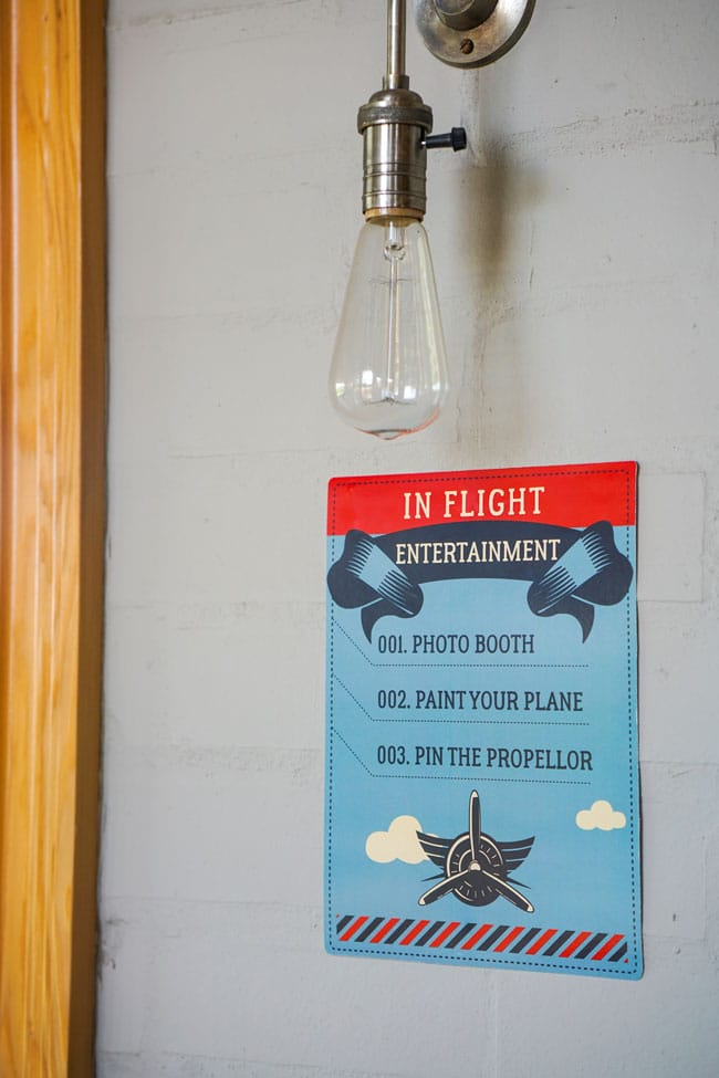 Vintage Airplane Birthday Party In Flight Entertainment Sign