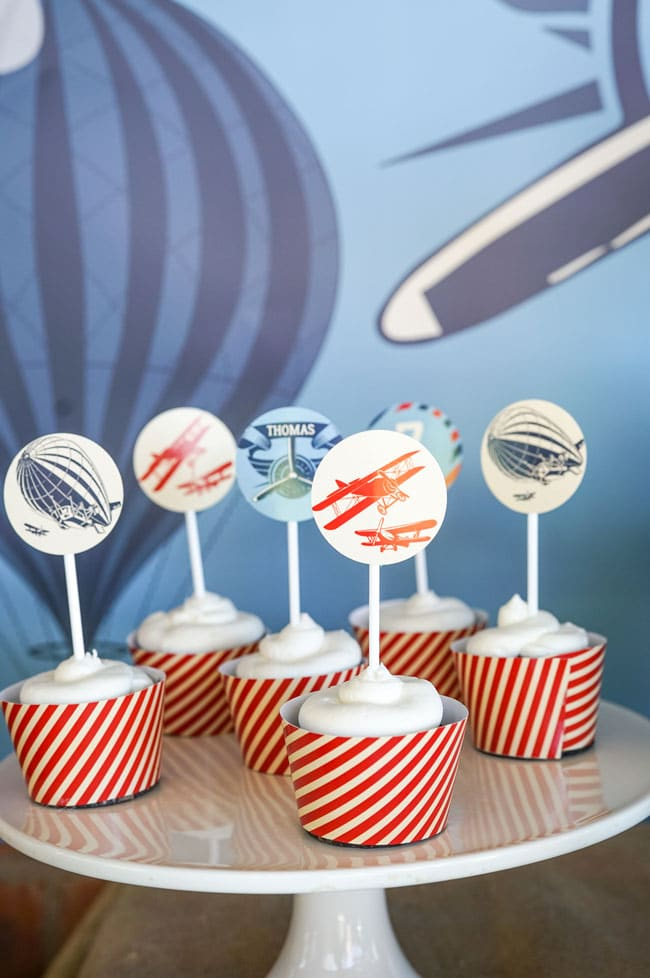 Vintage Airplane Birthday Cupcakes