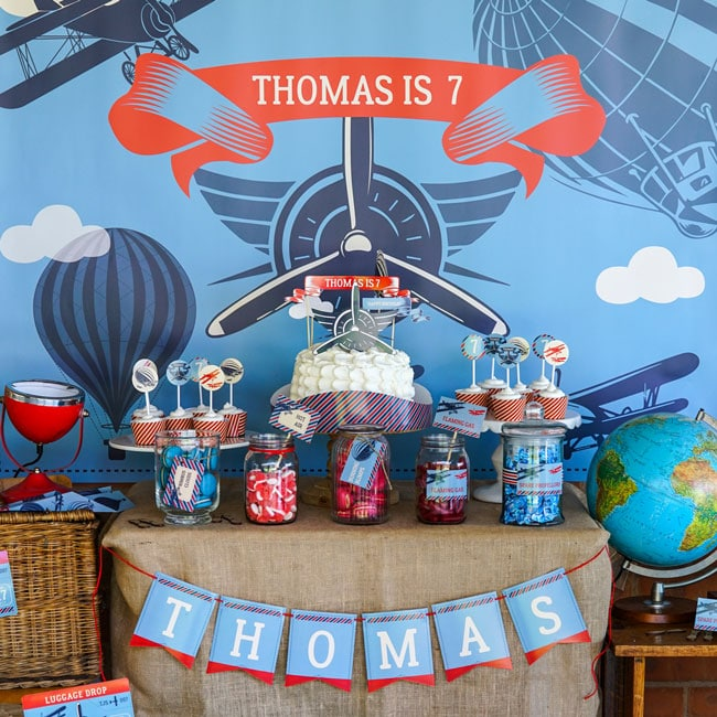 Vintage Airplane Birthday Party Dessert Table
