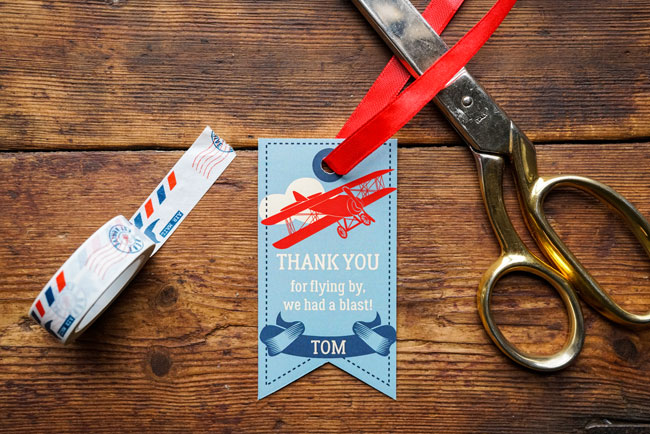 Vintage Airplane Birthday Party Thank You Tags