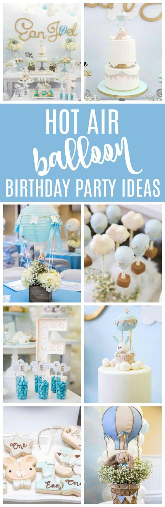 Boys Hot Air Balloon First Birthday Party - Pretty My Party