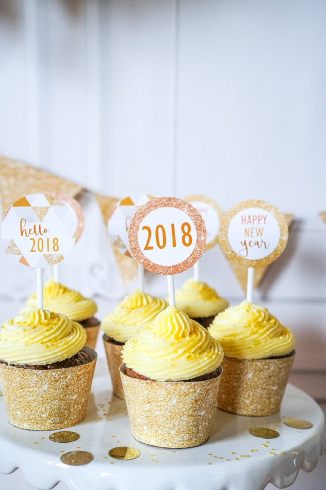 Quick and Easy New Years Party Setup cupcake toppers featured on Pretty My Party