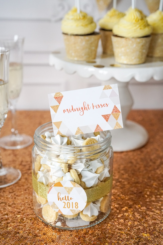 Midnight Kisses - Quick and Easy New Years Party Setup food labels featured on Pretty My Party