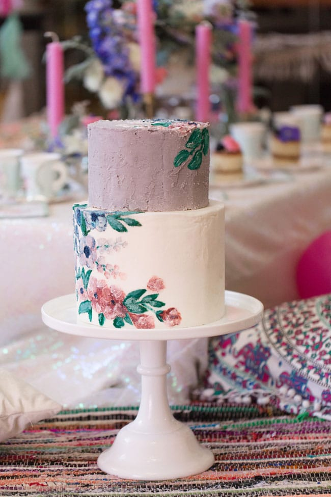 Boho Inspired Winter Wonderland Party Cake