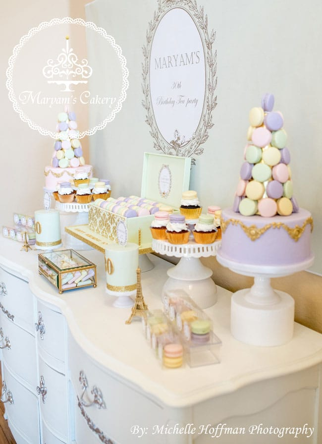 French Parisian Tea Party 30th Birthday Desserts
