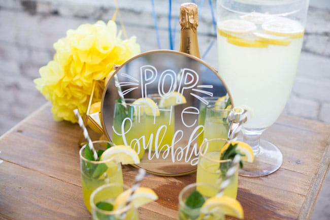 Modern Navy and Yellow Bridal Shower Lemonade Stand