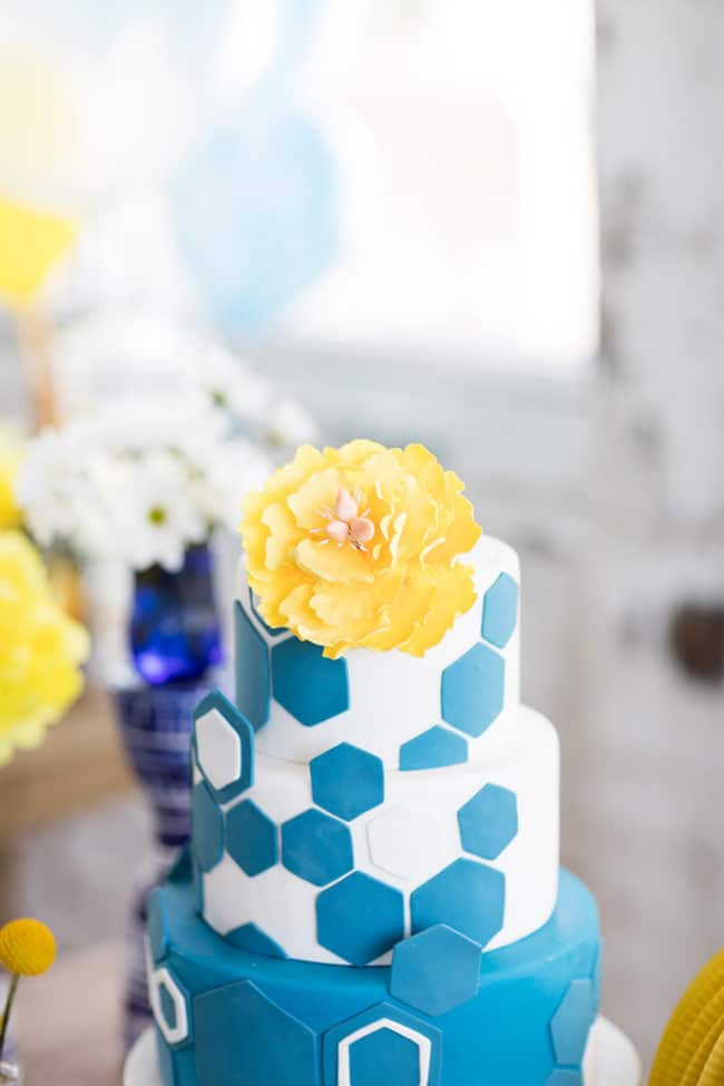 Modern Navy and Yellow Bridal Shower Cake