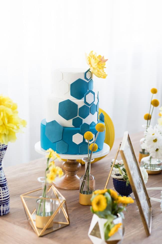 Modern Navy and Yellow Bridal Shower Geometric Cake
