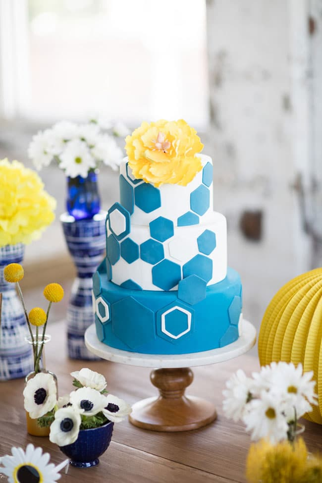 1f307266235be Modern Navy and Yellow Bridal Shower - Pretty My Party