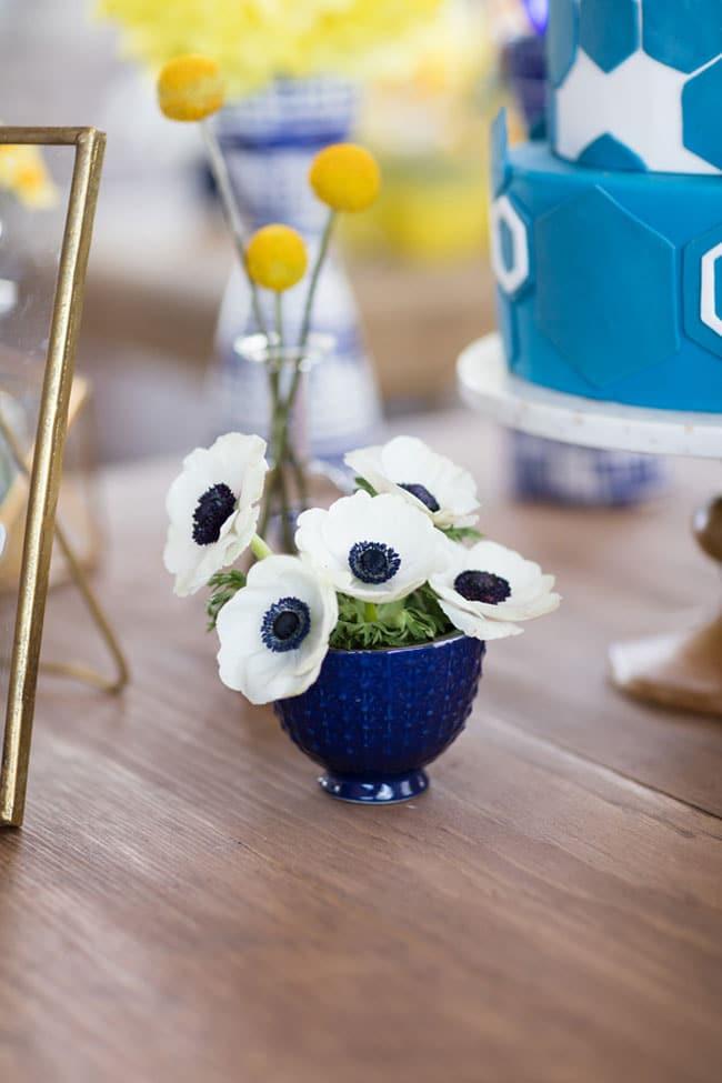 Modern Navy and Yellow Bridal Shower Flower Arrangements